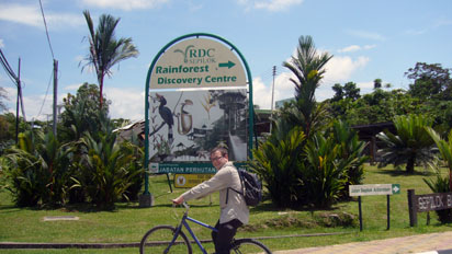 My bike outside the Rainforest Discovery Centre
