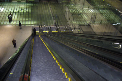 Escalator from airport to underground MRT