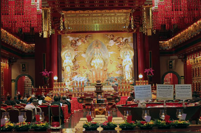 Worshippers inside Chinese Temple