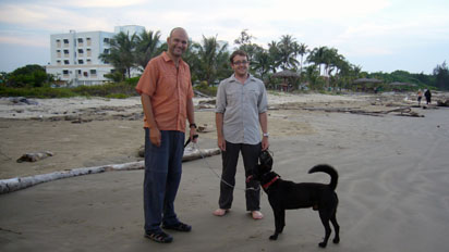 Gunnar, me and Esky on the beach