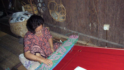 Woman making curtains