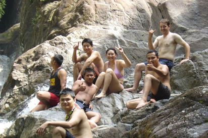 Everyone at the waterfall
