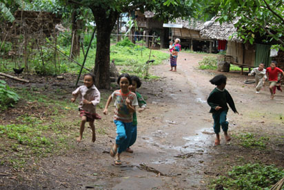 Children playing in one of the villages