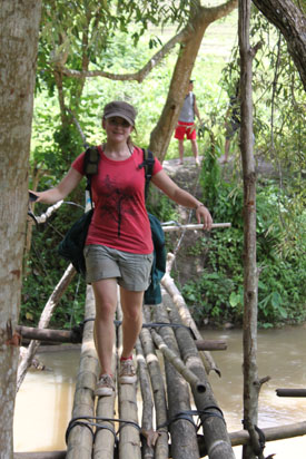 Crossing the bamboo bridge.