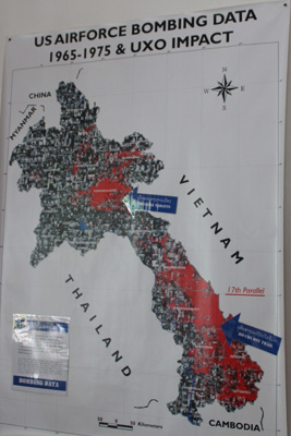 Laos map with known bombing data