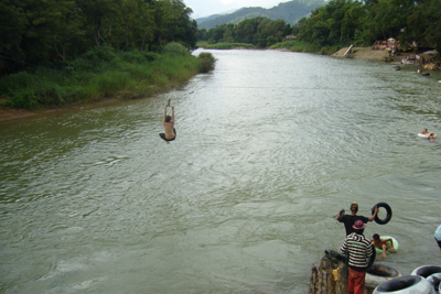 Rope slide into the Mekong River
