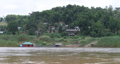 A village alongside the river front