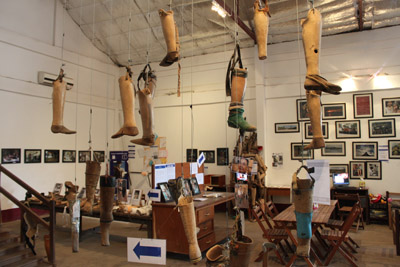 Donated prosthetic legs from victims