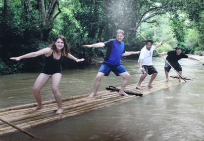 Surfing Bamboo raft