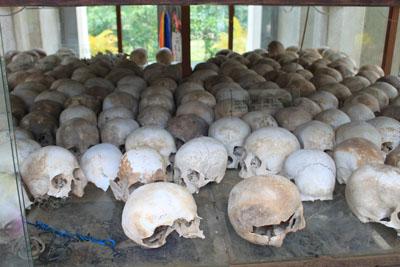 Skulls inside the memorial stupa