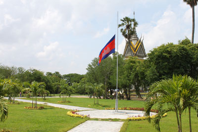 Cambodian flag hanging at half-mast in the Killing Fields