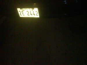 Number plate of dodgy taxi driver