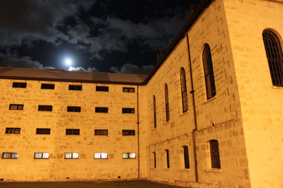 A full moon shines over Fremantle prison