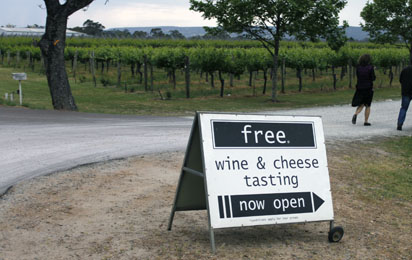 Free Wine and Cheese opposite free chocolate place