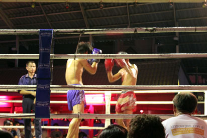 Thai boxers in action