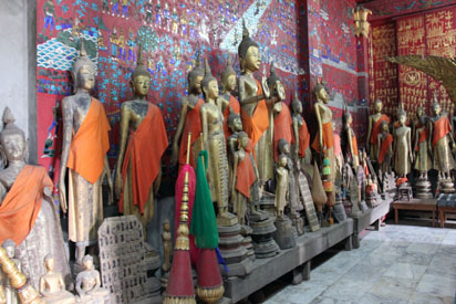 Buddha statue's lined up in storage on Wat grounds