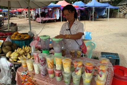 Making Fruit shakes in Luang Prabang