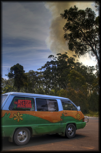 Mystery Machine wants to find out about the bush fire