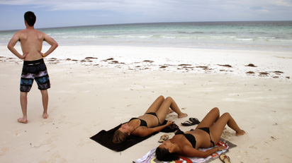 Euro girls on beach
