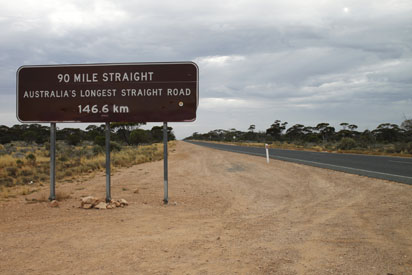 Nullarbor straight road sign