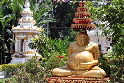 Gold statue in the temples outside garden