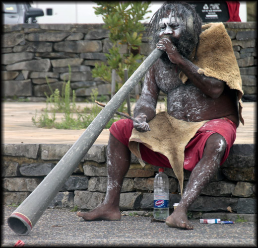 Aboriginal with didgeridoo