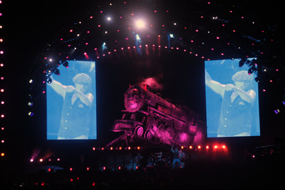 Brian Johnson from AC/DC with rock and roll train