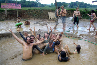 Bunch of drunks in mud pool
