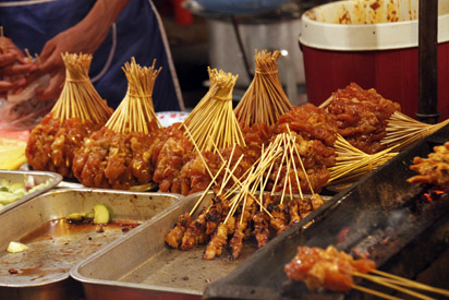 satay selection on malaysian market stall