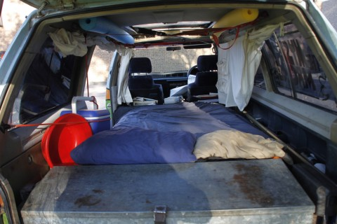 Campervan sleeping area