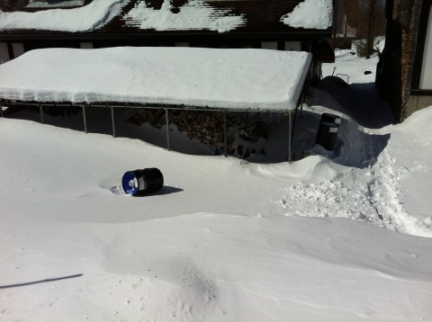 Barrel in middle of snow after earthquake