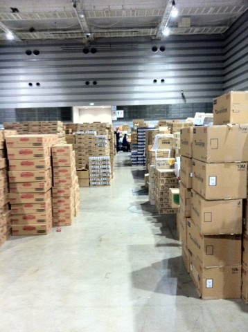 Delivery boxes to evacuation centres in Japan earthquake