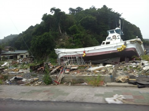 Boat after tsunami