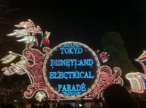 Mickey mouse on electric parade cart