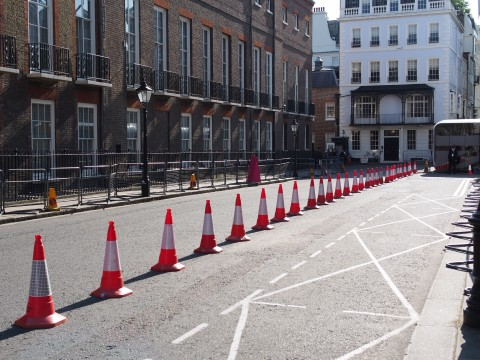 blocked road in London