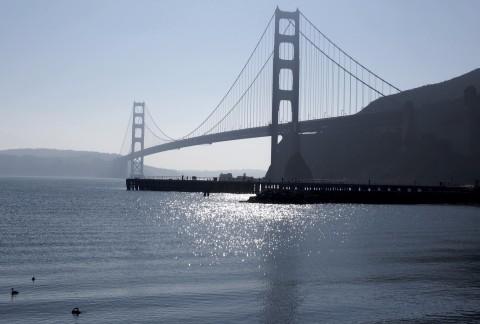 Golden gate bridge in a blue tone.